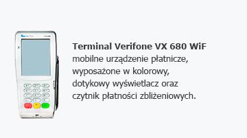 Terminal Verifone VX 680 WiFi - mobilne urządzenie płatnicze, wyposażone w kolorowy, dotykowy wyświetlacz oraz czytnik płatności zbliżeniowych.